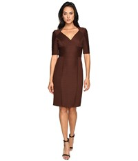 Nue By Shani Cross Over V Neck Knit Dress Chocolate Women's Dress Brown