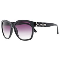 John Lewis Large Square Ridge Arm Sunglasses Black