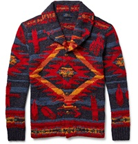 Polo Ralph Lauren Patterned Wool Blend Cardigan Red