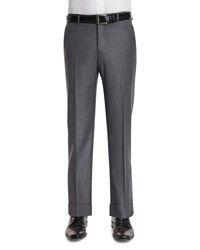 Neiman Marcus Classic Flat Front Trousers Gray