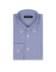 Forzieri Blue And Light Pink Checked Cotton Slim Fit Men's Shirt