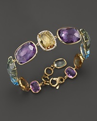 Vianna Brasil 18K Yellow Gold Bracelet With Amethyst Blue Topaz Citrine Prasiolite And Diamond Accents
