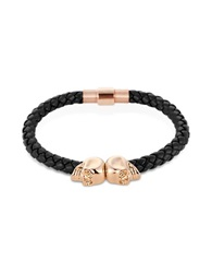 Northskull Navy Blue Nappa Leather 18Kt. Rose Gold Twin Skull Bracelet