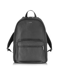Armani Jeans Black Leather Backpack