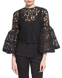 Carolina Herrera Bell Sleeve Lace Jacket With Bow Black Women's