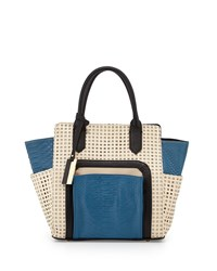 Christian Lacroix Invictus Perforated Satchel Bag Blue Dune Black