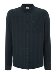 Long Sleeve Button Down Check Shirt Dark Green