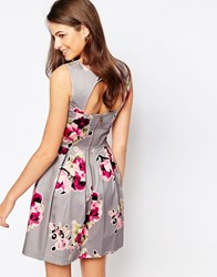 Closet Skater Dress Wtith Cut Out Back In Rose Print Grey Red