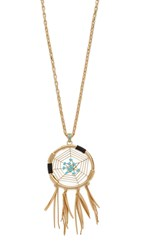 Rebecca Minkoff Large Dreamcatcher Pendant Necklace Gold Turquoise