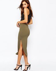 Asos Longer Length Midi Pencil Skirt With Thigh Split Khaki Tan