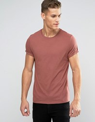 Asos T Shirt With Crew Neck And Roll Sleeve In Red Paver Red