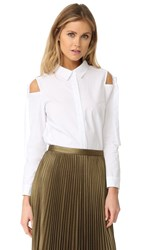English Factory Woven Sleeves Top White