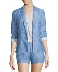 Joie Pernilla Chambray Linen Blazer Washed Denim