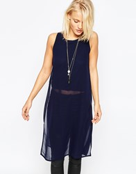 Ax Paris Longline Tunic In Chiffon Navy