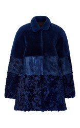Jo No Fui Intarsia Lamb Shearling Overcoat Blue