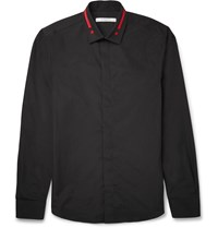 Givenchy Slim Fit Embroidered Cotton Poplin Shirt Black