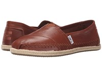 Toms Leather Classics Cognac Full Grain Leather 2 Women's Slip On Shoes Brown