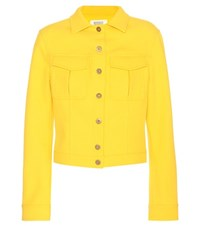 Rosie Assoulin Waffle Cropped Cotton Blend Jacket Yellow