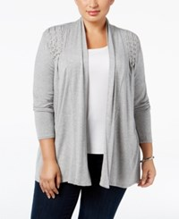 Belldini Plus Size Lace Up Cardigan Heather Grey