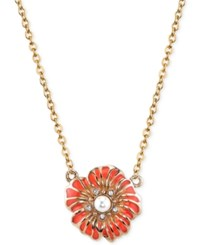 2028 Gold Tone Stone And Crystal Flower Pendant Necklace