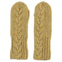 Lowie Virgin Wool Cable Knit Mittens In Yellow Marl