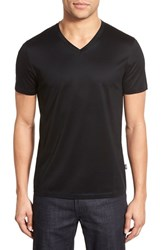 Boss Men's 'Teal' Slim Fit Mercerized Cotton V Neck T Shirt Black