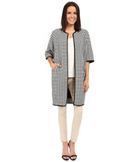 Adrianna Papell Gingham Jacket Coat Ivory Black Women's Coat Multi