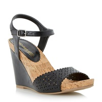 Head Over Heels Kelsie Laser Cut Wedge Sandal Black