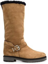 Fendi Wavy Trim Boots Brown