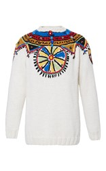 Stella Jean White Contenere Embroidered Sweater