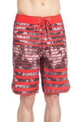 The North Face Men's 'Whitecap' Scalloped Hem Flashdry Board Shorts Fiery Red Mountain Watercolor