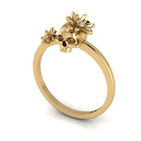 Antoanetta 14K Yellow Gold Skull Ring With Flowers6.5