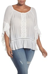 Wit And Wisdom Plus Size Women's Off The Shoulder Crochet Front Blouse