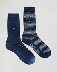 Levi's Socks In 2 Pack Graphic Stripe Blue Blue