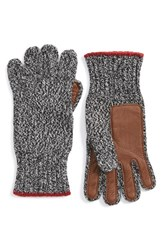Men's Polo Ralph Lauren Merino Wool Blend Gloves Black Black White Ragg