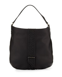 Cole Haan Sam Woven Detail Leather Hobo Bag Black