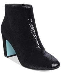 Blue By Betsey Johnson Blair Sequin Ankle Booties Women's Shoes Black