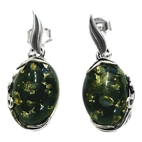 Goldmajor Green Amber And Sterling Silver Earrings Silver Green