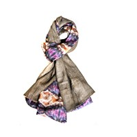 Alexandra Taylor Scarves To Fight Malaria Purple Silk Wool Two Sided Scarf
