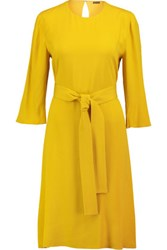 Adam By Adam Lippes Karate Belted Crepe Dress Bright Yellow