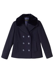 Precis Petite Mary Wool Faux Fur Collar Coat Navy