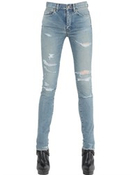 Saint Laurent Washed And Destroyed Cotton Denim Jeans