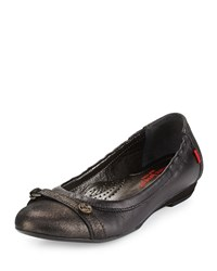 Marc Joseph New York Bryant Park Leather Skimmer Flat Black Glimmer