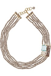 Bounkit Beaded Multi Stone Necklace Metallic