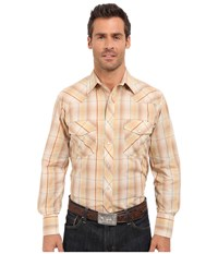 Roper 0294 Earth Tone Plaid W Gold Lurex Brown Men's Long Sleeve Button Up