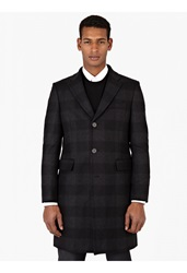 Melindagloss Grey Checked Virgin Wool Coat