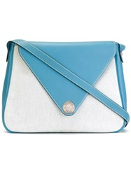 Hermes Vintage Two Tone Envelope Shoulder Bag Blue