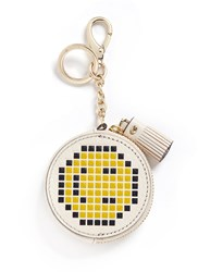 Anya Hindmarch 'Pixel Smiley' Embossed Leather Coin Pouch Yellow