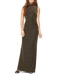 Ralph Lauren Metallic Mock Neck Gown Black Gold