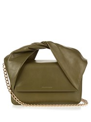 J.W.Anderson Twist Leather Clutch Dark Green